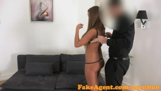 FakeAgent Tanned dancer fucked hard and then takes Creampie in Office  office sex homemade oral-sex shaved-pussy audition amateur blonde cumshot pov couch reality fakeagent hottie interview