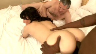 hot ghetto booty white slut cuckolds some douche  spitroast interracial cowgirl ass eating deepthroat bbc rimjob kissing cuckold black cock tattoo small tits