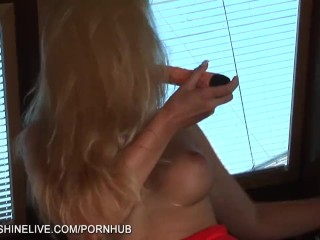 Blonde Sandra Shine fingering her pussy on the yacht