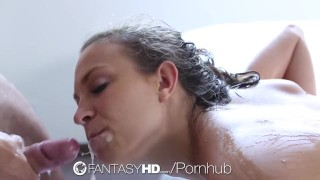 FantasyHD - Super oiled up sexy shower time fuck for Lily Love