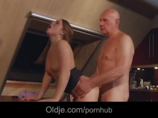 XXX porn - estel-two: Bald old man fucking doggie his horny youthful babe