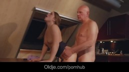 Gorgeous year old fucking and sucking a bald old man