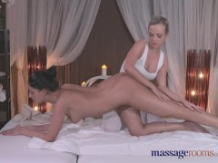 Massage Rooms Gorgeous blonde has heavy orgasm from sexy lesbian