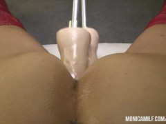 : Norwegian MonicaMilf fucking her ass and pussy with a double fuckma...