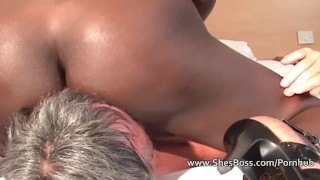 Elderly white man worships a black woman  lick pussy high heels slave facesitting ebony cunilingus femdom amateur fetish domination kink interracial shesboss feet shaved foot worship