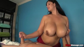 Busty Mature Cock Handjob  big boobs femdom meanmassages