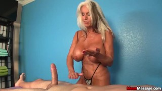 Experienced Lady Dominant Handjob  teasing femdom old amateur massage handjob happy ending mature cougar oil rub and tug meanmassage titty fucking huge tits