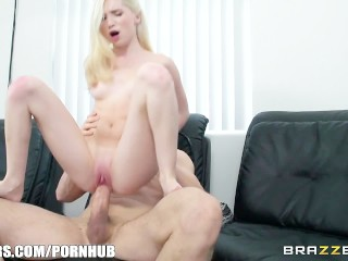 Cute blonde with braces takes big cock - Brazzers