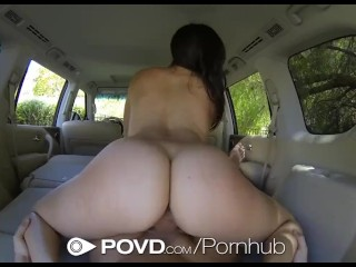 HD POVD - Holly Michaels fucked in the back of the car in pov