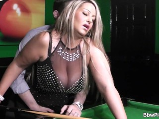 Hottest chubby blonde in black stockings