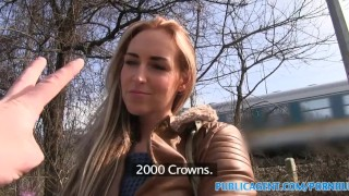 PublicAgent Long haired blonde fuckoing in public  sex for money sex for cash outdoors outside amateur cumshot public pov real camcorder reality publicagent sex with stranger