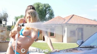 HD FantasyHD - Holly Michaels and Natalia Starr fuck at car wash