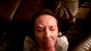 huge load  brunette facial massive-cumshot homemade cock-sucking oral babe point-of-view cumshot pov blowjob amateur