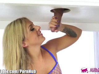 MilkingTable Madelyn Monroe Throats Cock in Fishnets