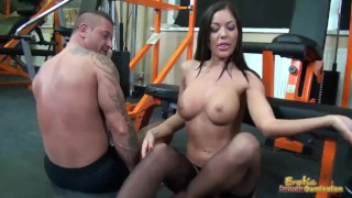 Tits smothering femdom with busty Angelica Heart raven femdom female friendly kink bubble butt hungarian