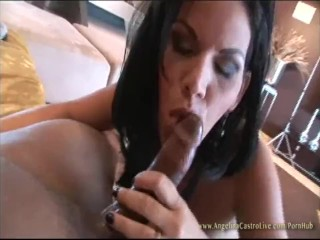 Angelina Castro Swallows all the Cum after Big Facial from Black Cock!