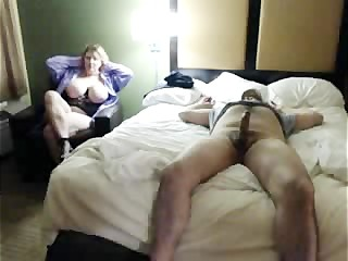 Horny Big Tit Stepmom Sneaks into Hotel Room while Grlfriends in the Shower