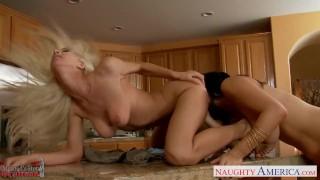 Lesbians Jelena Jensen and Sammie Rhodes rub pussies