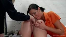 Hot Lesbian Prison Anal Threesome