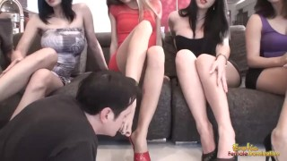 A dozen female feet is sniffed one by one by footslave  face sitting bdsm cuckold facesitting foot femdom cfnm fetish foot fetish smothering feet ballbusting female domination