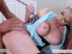 Busty blonde babe Courtney Cummz ride dick in the office