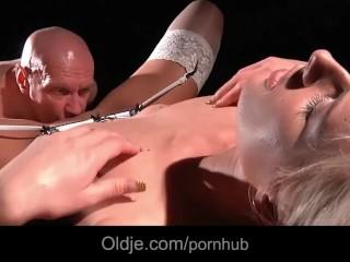 Bald old bastard doing hard a hardcore blonde