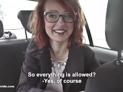 Redhead MILF does handjob, BJ and fucks with taxidriver