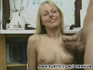 XXX porn - estel-two: Skinny amateur girlfriend toying and cum on tits