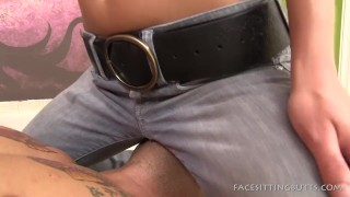 Teen sitting on guy's face in blue jeans  face sitting bdsm humiliation femdom blonde amateur cfnm fetish domination young small boobs facesittingbutts sit