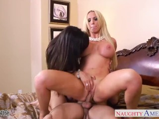 2 horny chicks share a big hard cock 8