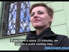 PublicAgent Short haired women fucks stranger for cash in his car