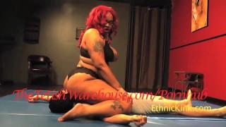 Black BBW Amazon Wrestles White Wimp  interracial kink bondage big boobs femdom face sitting thefetishwarehouse bbw face sitting ebony redhead chubby wrestling
