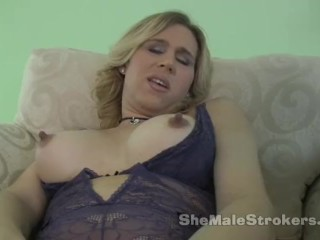 Blonde Shemale Princess with Huge Nipples and a Dildo in Her Ass
