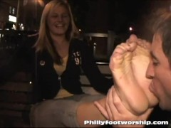 Philly foot worship waitress in public