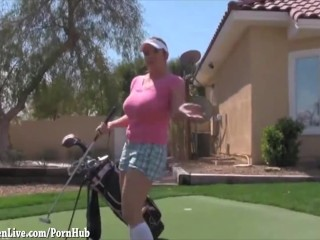 Big Tit Golfer Maggie Gets Hole in One!