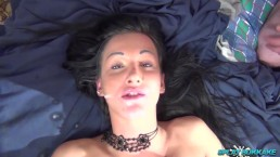 Gorgeous UK babe Chantelle Fox gangbanged and takes cum in her face