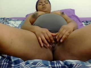 Pregnant Solo playing with pussy