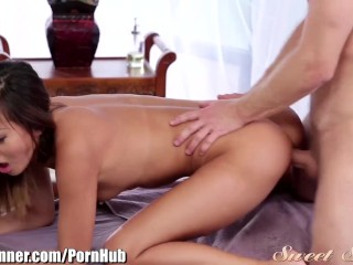 SweetSinner Alina Li Doggystle on Massage Table