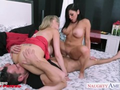 Bisexual babes Audrey Bitoni and Katie Kox gets big tits fucked