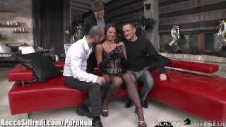 RoccoSiffredi Hungarian Slut Double Anal Gangbanged euro lingerie all-holes dp hungarian shaved double-penetration gangbang cumshot deepthroat double-anal anal air-tight ass-fuck roccosiffredi natural-tits big-dick fishnets
