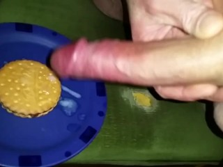Self Handjob - Cum on Food - Cookie Cumshot + Slo-Mo