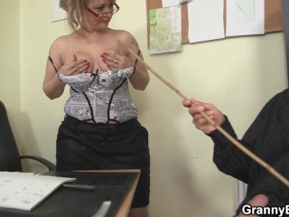 Sexy old women rides his cock in the office