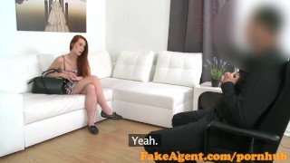 Preview 3 of FakeAgent Horny red head babe gets spunk shower in Casting interview