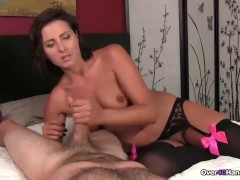 Perverted brunette milf handjob