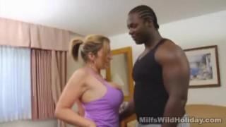 Milf sara jay brings a black stud t..
