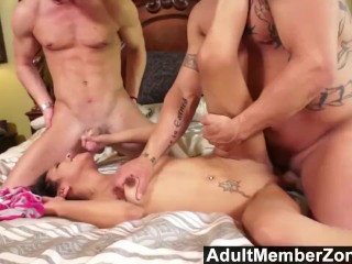 Cute Sydnee Taylor is not afraid to get double teamed