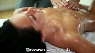 Hot brunette Sabrina Banks gets an oil rubdown then fucks - PornPros