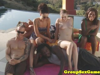 Tatiana Kush outdoors in amateur group fucked