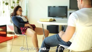 Little student slut Morgan Lee wants to be fucked - FantasyHD  close up babe teen glasses oral hd fantasyhd asian blowjob cumshot hardcore handjob young cock sucking uniform pussy licking