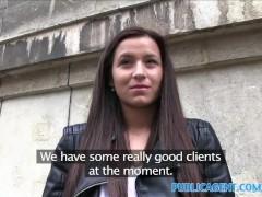 PublicAgent Shy brunette has sex in restaurant toilet for cash